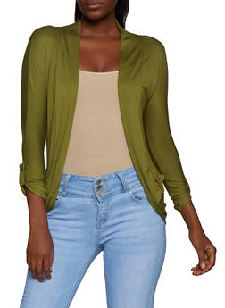Tabbed Sleeve Open Front Cardigan - 3414062706343