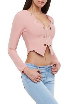 Textured Knit Cropped Zip Front Blazer - 3414062707529