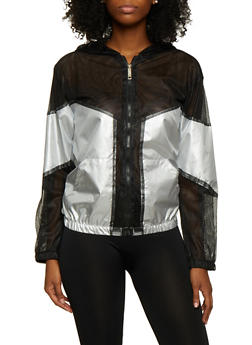 Reflective Mesh Color Block Windbreaker - 3414063400110