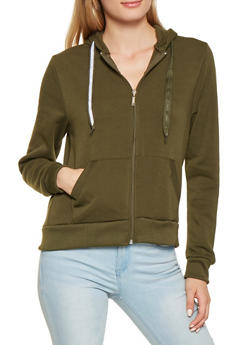Fleece Lined Zip Up Sweatshirt - 3414063400207