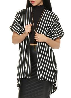 Short Sleeve Striped Kimono - 3414063400568
