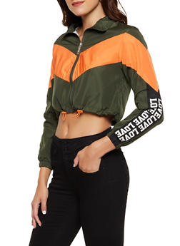 Color Block Love Drawstring Windbreaker - 3414063401160