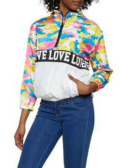 Love Trim Camo Color Block Windbreaker - 3414063401726