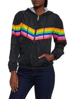 Rainbow Stripe Windbreaker Jacket - 3414063402020