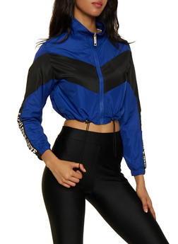 Color Block Cropped Windbreaker - 3414063402160