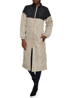 Long Color Block Windbreaker Jacket - 3414063402233