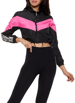Love Color Block Drawstring Windbreaker - 3414063404160