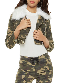 Cropped Camo Denim Jacket - 3414063407946