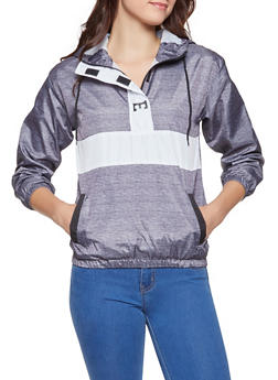 Graphic Color Block Windbreaker - 3414063408680