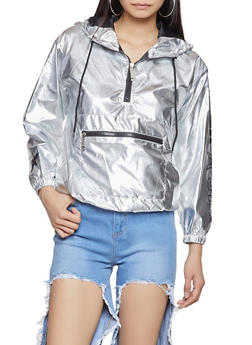 Graphic Metallic Hooded Windbreaker - SILVER - 3414063408684