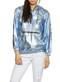 Graphic Metallic Hooded Windbreaker - 3414063408684