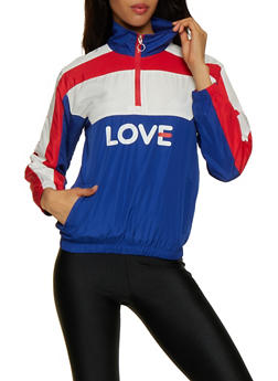Love Color Block Zip Neck Windbreaker - 3414063408811