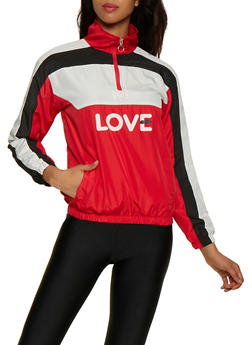 Love Zip Neck Nylon Windbreaker - 3414063408822