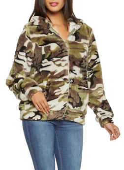 Faux Fur Camo Jacket - 3414063408972