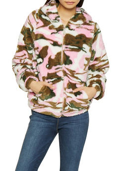 Faux Fur Camo Jacket - PINK - 3414063408972