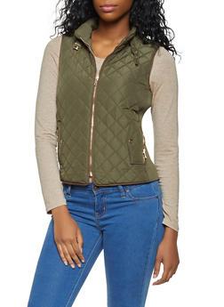 Zip Up Quilted Vest - 3414068190874