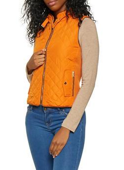 Zip Up Quilted Vest - RUST - 3414068190874