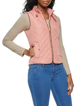 Zip Up Quilted Vest - BLUSH - 3414068190874