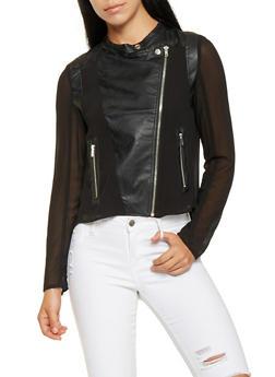 Faux Leather and Chiffon Moto Jacket - BLACK - 3414068193085