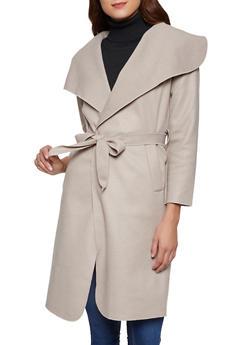 Tie Waist Wrap Coat - 3414068193458