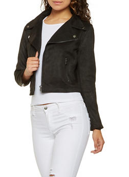 Faux Suede Moto Jacket - 3414068195238