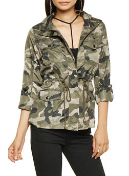 Hooded Camo Windbreaker - 3414068199095