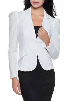 Ruched Shoulder One Button Blazer - 3414068512338