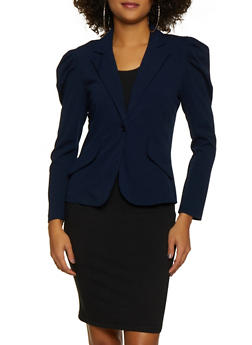 Ruched Shoulder One Button Blazer - 3414068512338