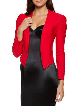 Ruched Shoulder Stretch Blazer - 3414068513818