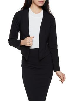 Asymmetrical Stretch Open Front Blazer - 3414068515518