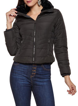 Faux Fur Lined Collar Puffer Jacket - 3414069390355