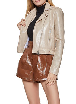 Crinkled Faux Patent Leather Moto Jacket - 3414069390404