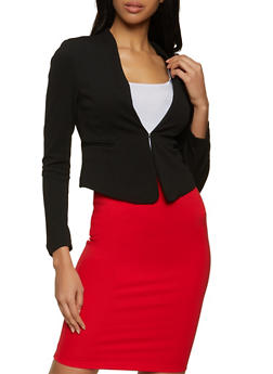 Textured Asymmetrical Blazer - 3414069390472
