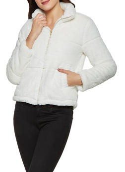 Faux Fur Collared Zip Front Jacket - 3414069391107