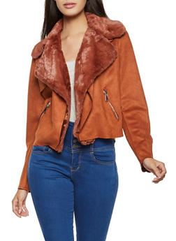 Faux Fur Trim Moto Jacket - 3414069392356