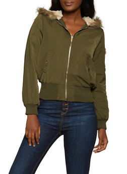 Faux Fur Lined Hood Bomber Jacket - 3414069392531