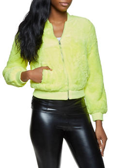 Faux Fur Zip Up Bomber Jacket - NEON LIME - 3414069392639