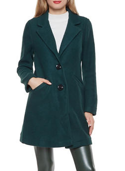 2 Button Faux Wool Peacoat - 3414069397013