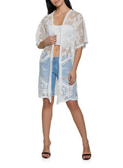 Embroidered Mesh Kimono | 3414069397022 - 3414069397022