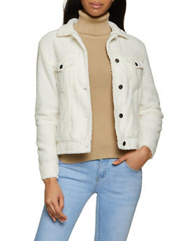 Button Front Sherpa Jacket - 3414069399390