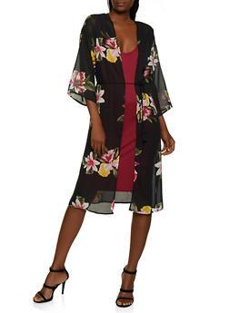 Floral Tassel Tie Waist Duster - 3414069399486