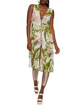 Leaf Print Maxi Top - 3414069399940