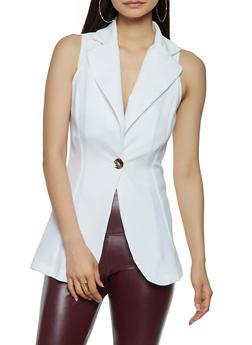 Sleeveless Textured Knit Blazer - 3414072240904