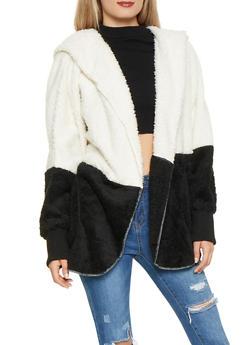 Color Blocked Hooded Sherpa Jacket - 3414072299879