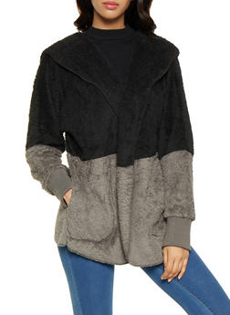 Color Blocked Hooded Sherpa Jacket - 3414072299879