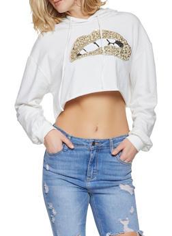 Sequin Lip Cropped Sweatshirt - 3416061353433