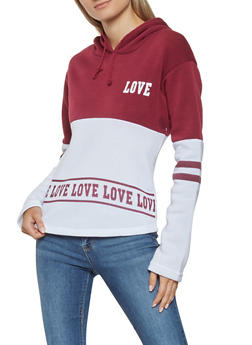 Color Block Love Graphic Sweatshirt - 3416062704039