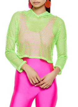 Fishnet Hooded Crop Top - 3416063401687