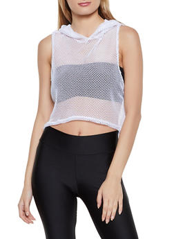 Hooded High Low Fishnet Top - 3416063403322