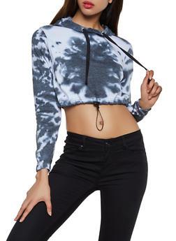 Cropped Tie Dye Fleece Sweatshirt - 3416063403851